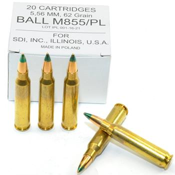 DS Arms 5.56X45 MM NATO Ammunition - 62 Gr. Steel Core - 20 Round Box