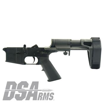 DS Arms AR15 Complete Lower Receiver - Maxim Adjustable Arm Brace Installed